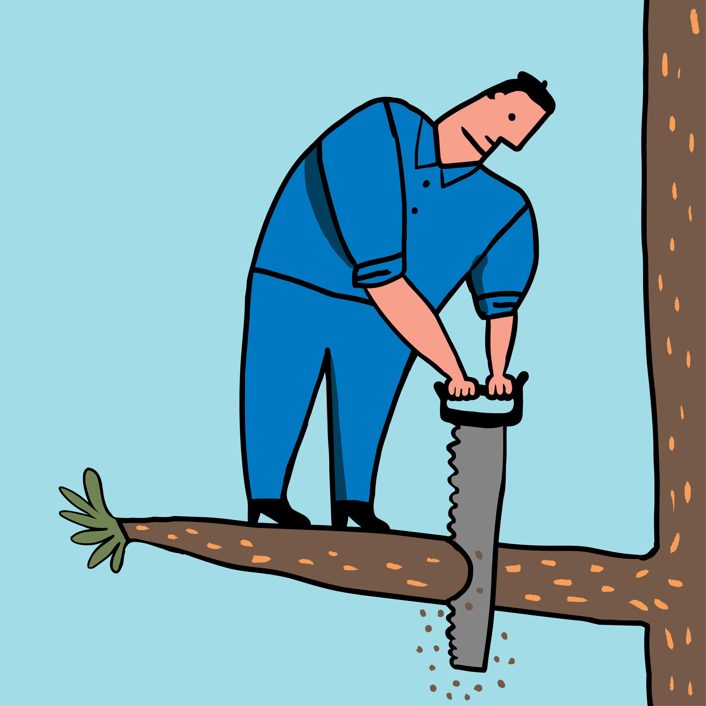 Hombre corta rama donde est‡ parado
