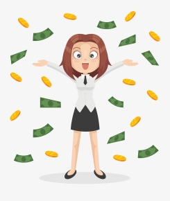 Happy smiling office worker business woman character standing under money rain