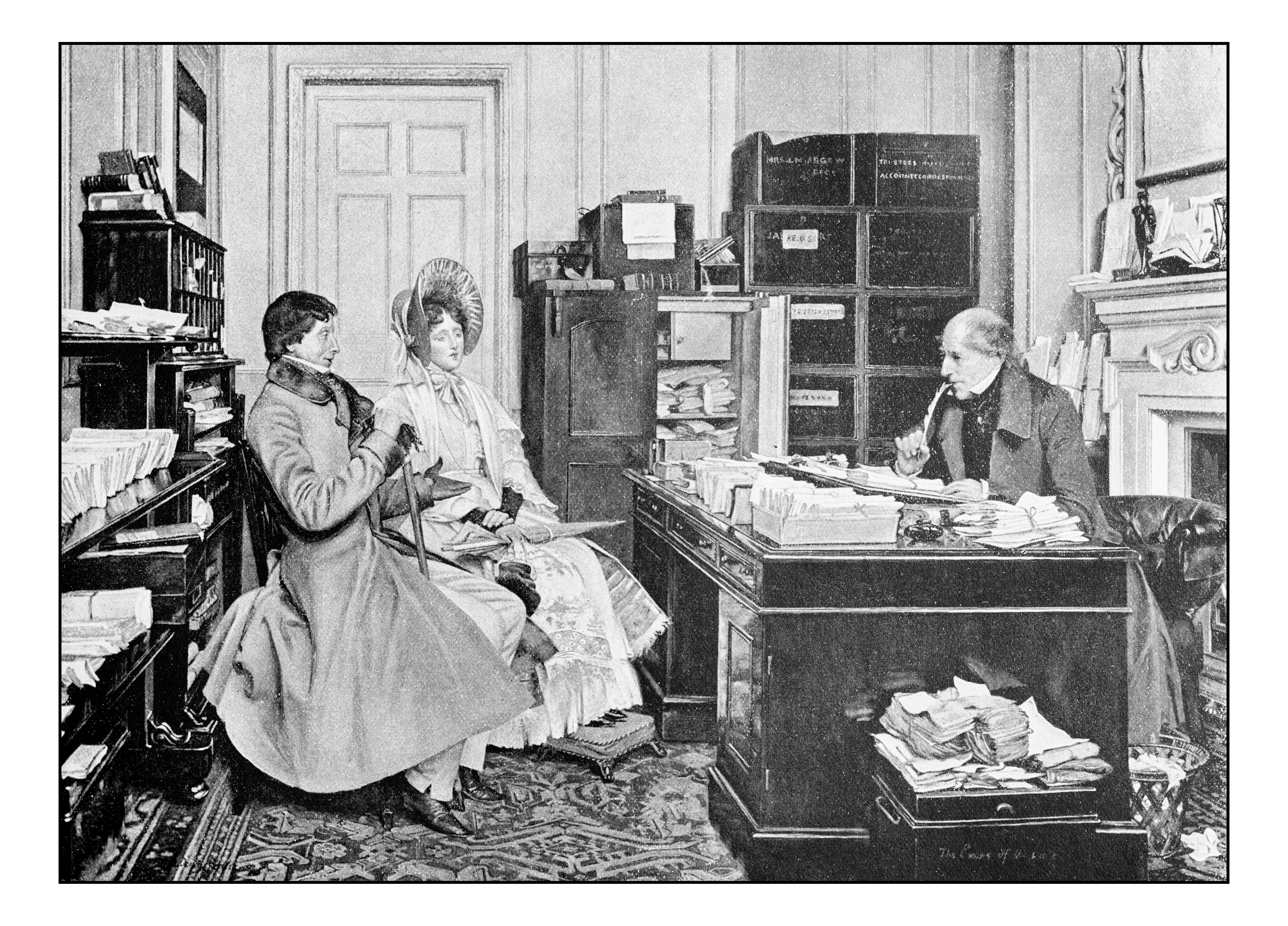 Antique dotprinted photograph of painting: Couple in notary office