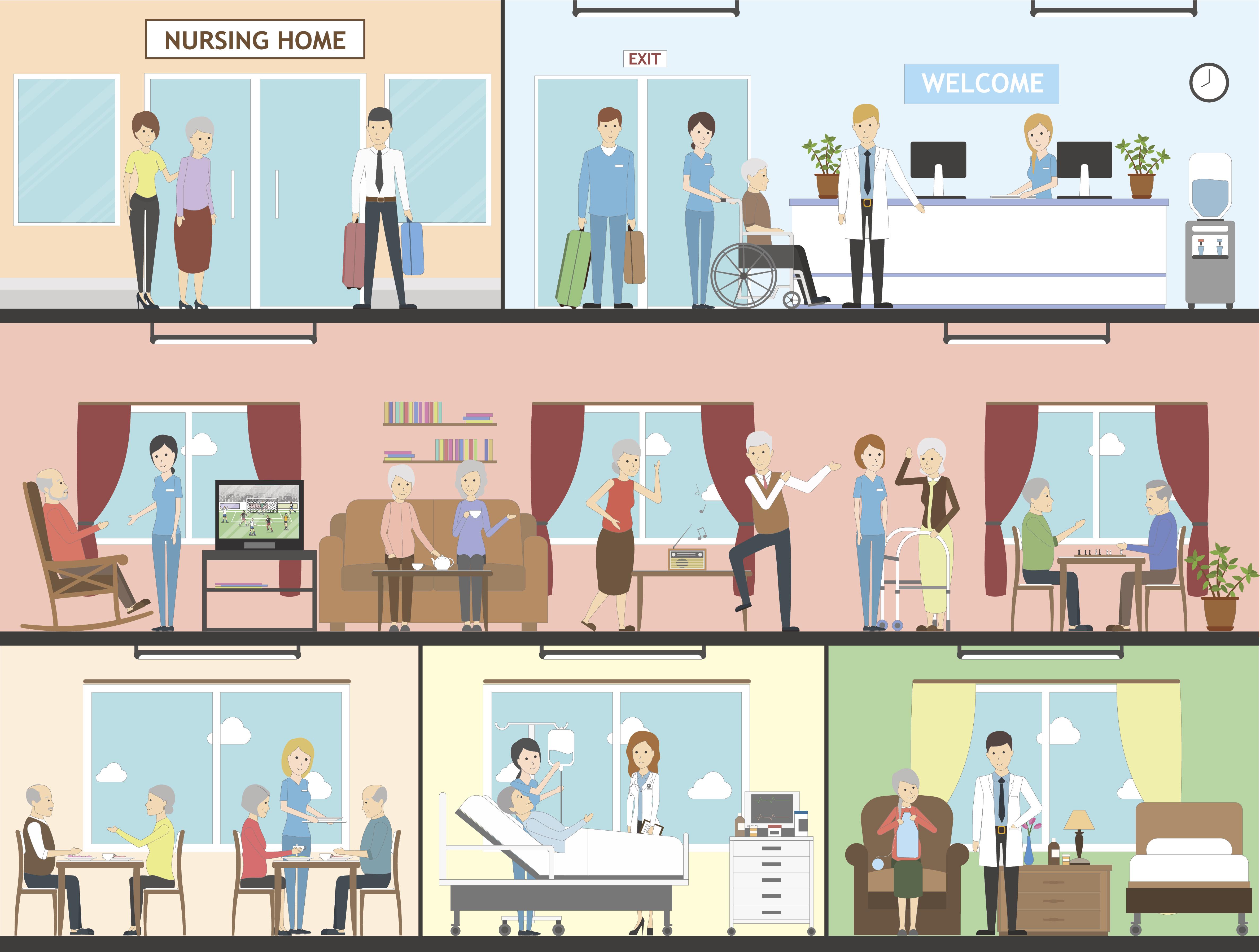 Nursing home interior set.